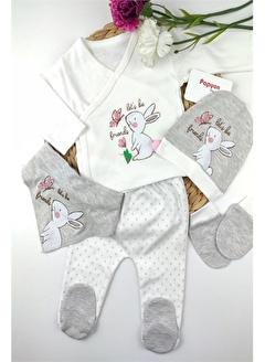Papyon Baby Kids Tavşanlı Ponponlu Kız Bebek 5li Zıbın Hastane Çıkış Seti